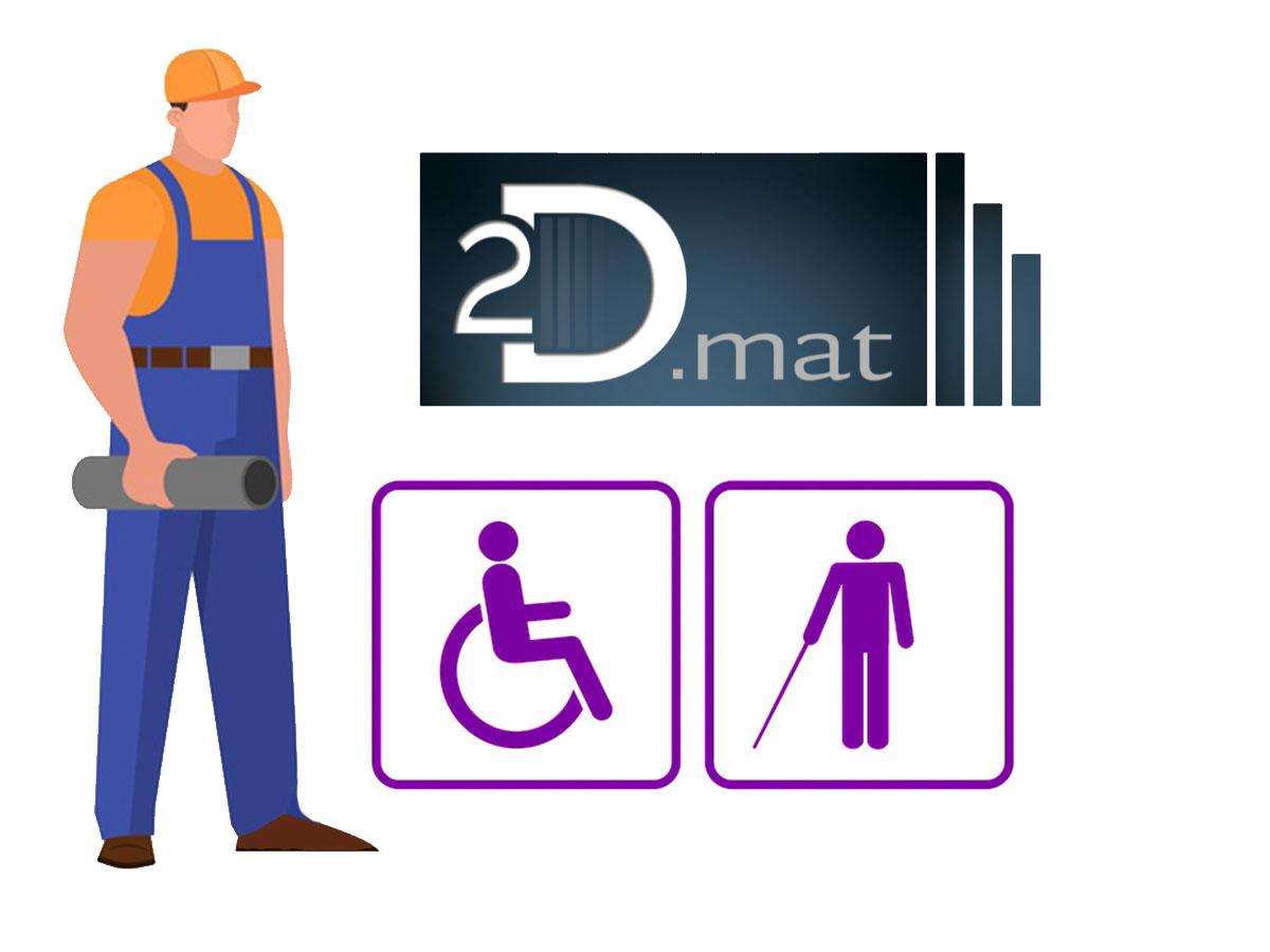 2Dmat met en place des  revêtement de sol permettant l'éveil de la vigilance à une distance de 50 cm de la première marche. Ce revêtement doit présenter une contraste visuel et tactile.